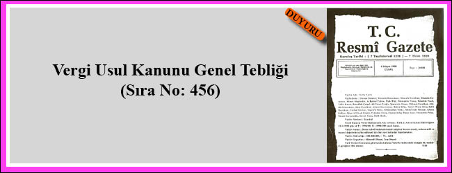 Vuk Genel Tebliği 456