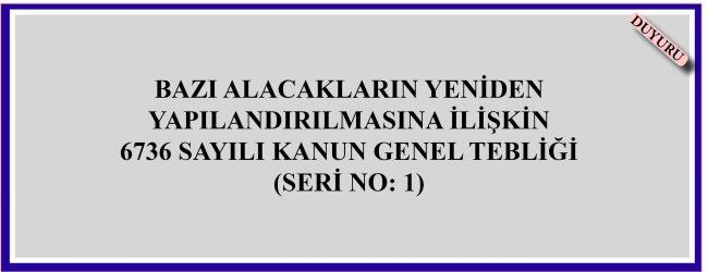 BAZI ALACAKLARIN YENİDEN YAPILANDIRILMASINA İLİŞKİN 6736 SAYILI KANUN GENEL TEBLİĞİ (SERİ NO: 1)