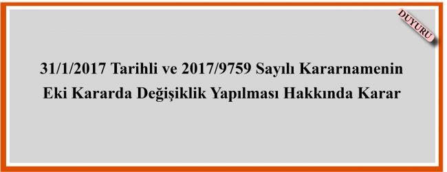 29 Nisan 2017 Tarihli ve 30052 Sayılı Resmî Gazete