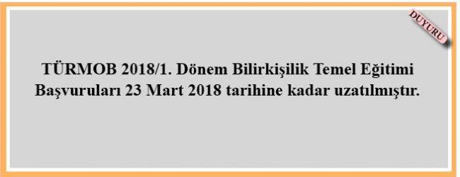 TÜRMOB 2018/1. Dönem Bilirkişilik Temel Eğitimi Başvuruları 23 Mart 2018 tarihine kadar uzatılmıştır.