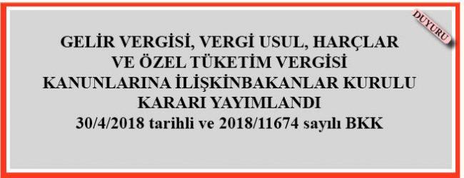 30.04.2018 Tarihli ve 2018/11674 Sayılı BKK