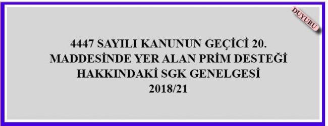 SGK genelgesi 2018/21