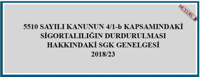 SGK Genelgesi 2018/23