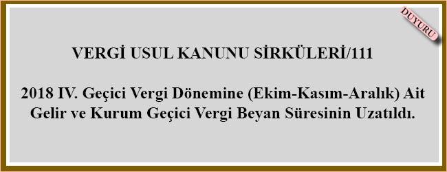 VERGİ USUL KANUNU SİRKÜLERİ/111