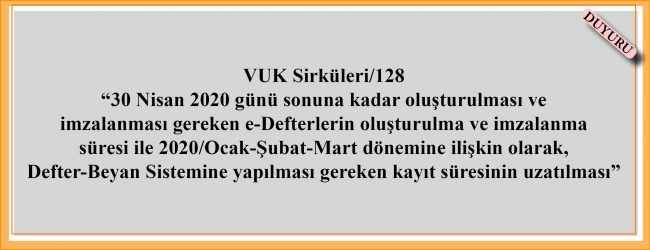 VUK Sirküleri 128